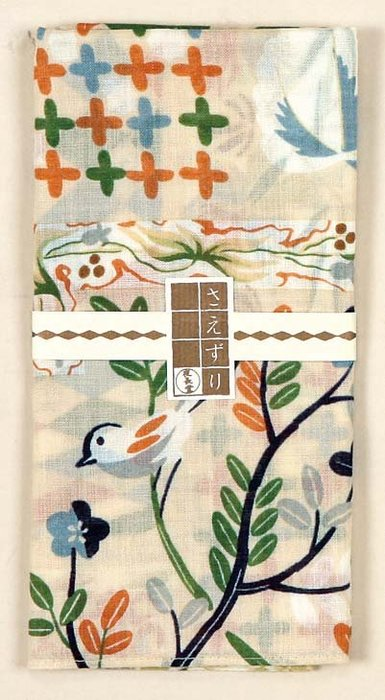 《散步生活雜貨》日本製 夜長堂  大判はんかち 昭和復刻圖案 大方巾 手帕-鳥鳴