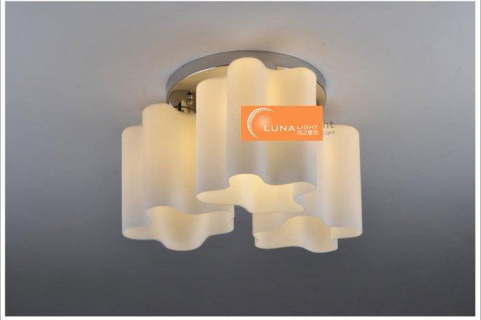【LUNA LIGHT 月之燈坊】全網最低 奶白玻璃雲朵湖泊3頭吸頂燈(C-091) 燈泡另加購
