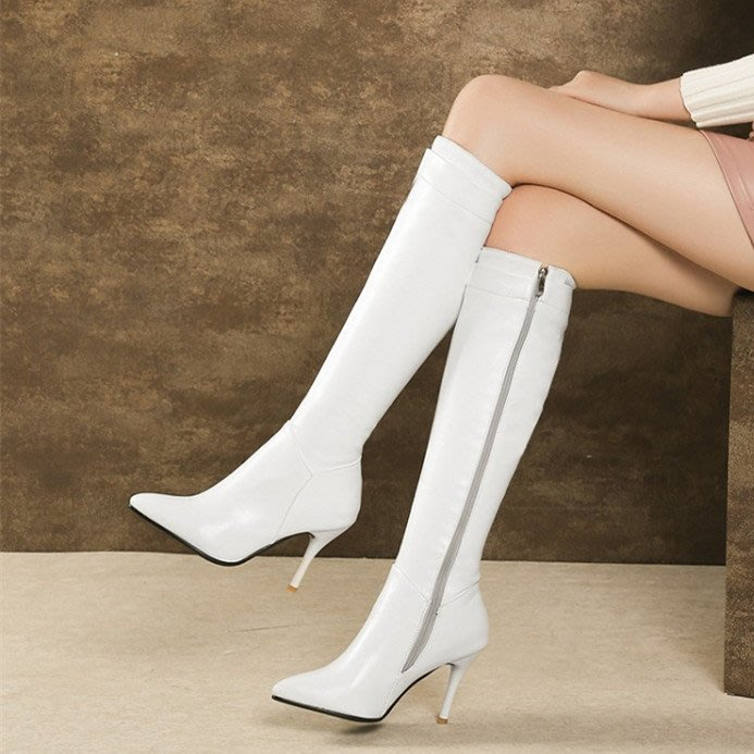 ~Linda~歐美新款顯瘦尖頭細高跟騎士靴大碼40-45白色高筒靴白色高跟皮靴