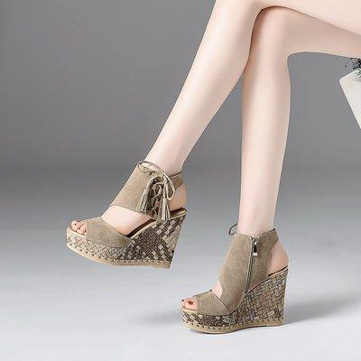 Mis YA*坡跟魚口鞋 超高跟涼鞋 歐洲站真皮厚底松糕鞋 牛翻皮防水臺超高跟涼靴