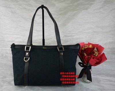 ☆優買二手精品名牌店☆ GUCCI 141470 黑色 皮革 深藍 緹花布 D環 肩背包 購物包 托特包 側背包 OL包II