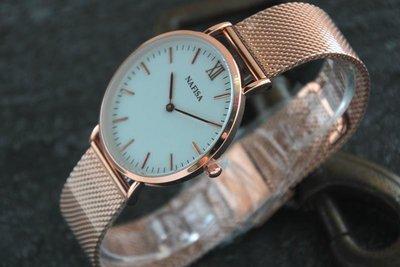 new arrival西班牙品牌nafisa百搭韓風時尚都會簡約DW風格,優雅玫瑰金色錶殼清晰刻度石英錶白色面板