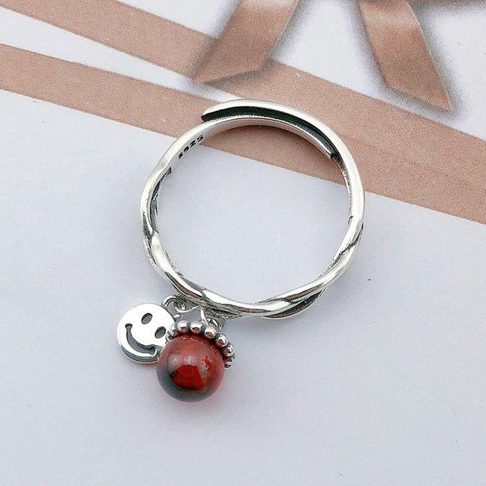 韓國Baby~玖天福笑臉戒指女純銀復古日韓國氣質微笑指環開口飾品送女友禮物