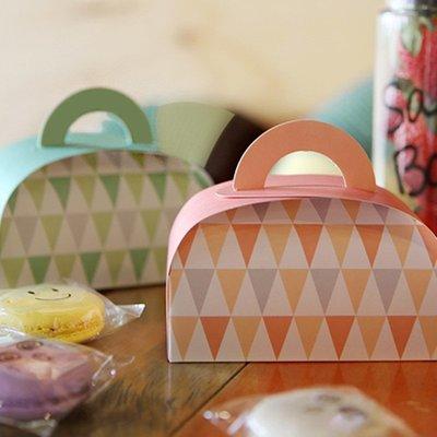 聚吉小屋 #熱賣#烘焙包裝盒手提粉綠馬芬紙杯蛋糕盒手拎馬卡龍甜品打包包裝盒1個(價格不同 請諮詢後再下標)
