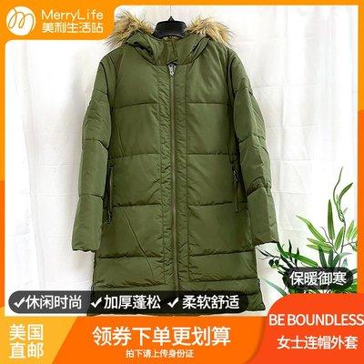 小木子店鋪美國直郵BE BOUNDLESS女士新款冬季連帽外套加絨加厚保暖中長棉衣