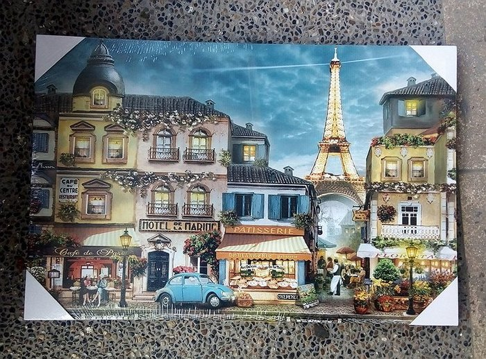 【浪漫349】帆布壁畫照片1 帆布畫 60*40CM 鐵塔街景店家洋房民宿餐廳