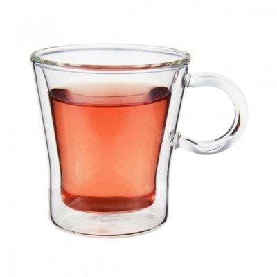 省錢工坊-耐熱玻璃雙層杯90cc【有把手】品茶杯 威士忌杯 花茶杯 濃縮咖啡杯 酒杯 耐熱玻璃杯