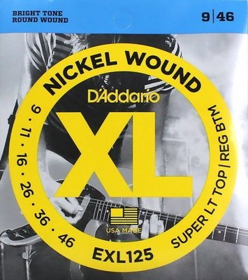 ☆ 唐尼樂器︵☆美國製原廠公司貨 Daddario EXL125 (.009-.046)防潮包裝電吉他弦