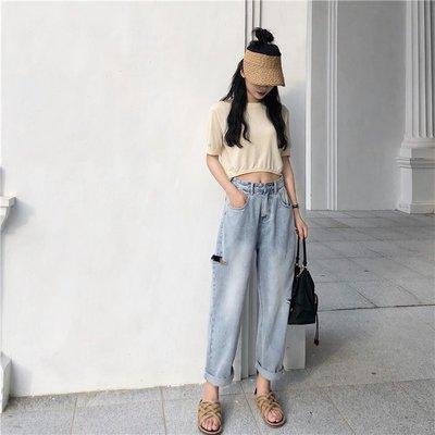 時尚女褲 高腰破洞卷邊牛仔褲女夏季新款寬松bf風做舊淺藍色休閑哈倫褲
