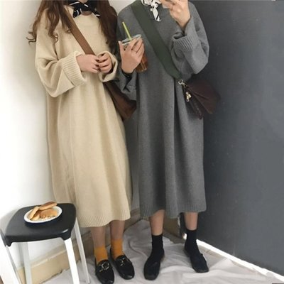 秋冬女裝韓版百搭慵懶風純色針織衫中長款...