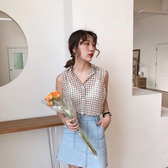 【Z0418-909】(現貨)韓版寬鬆顯瘦條紋無袖雪紡襯衫女百搭襯衫