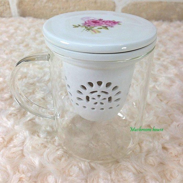 點點蘑菇屋 義大利Easy Life粉紅玫瑰立體蕾絲三件組(杯子+杯蓋+濾網) 馬克杯 水杯 茶杯 現貨
