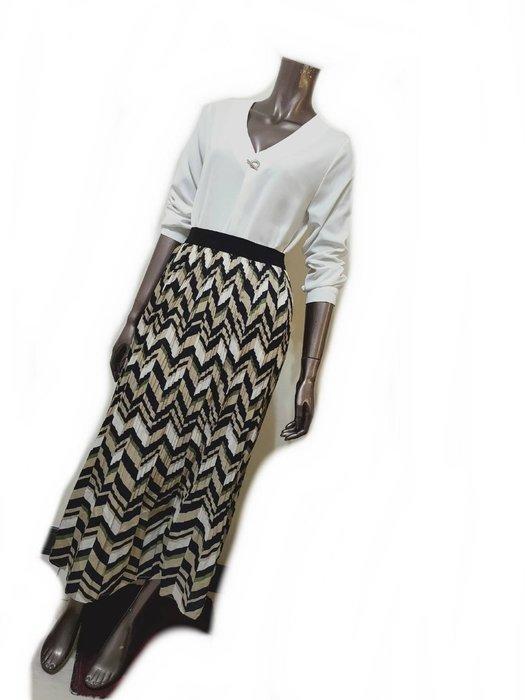 撞色w紋壓摺鬆緊帶長裙