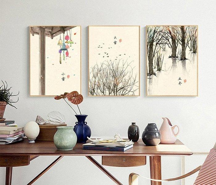 三幅一組油畫布 新中式現代民俗古風(1) 畫芯/畫布/30X40☺暖暖屋☺傢居藝術館