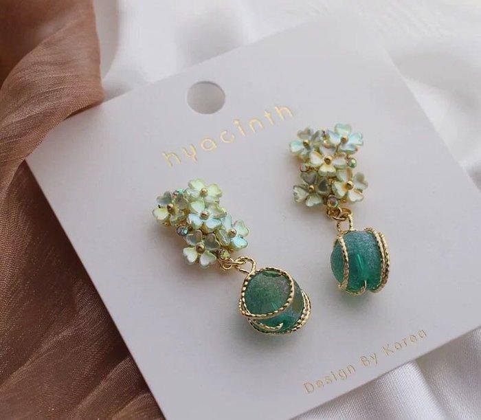 法式浪漫琉璃球花朵925純銀耳針耳環