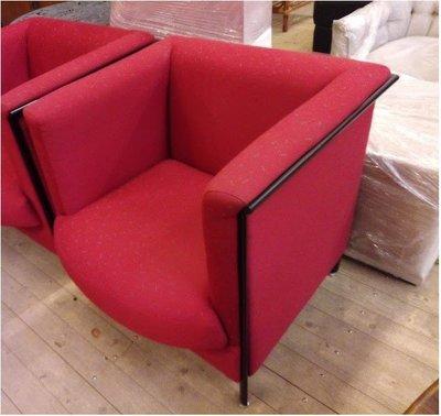 【土城二手市集】高級紅色單人沙發/牛角椅/鄉村風高級小沙發/公婆椅/主人椅 飯店 IKEA OA辦公 布沙發