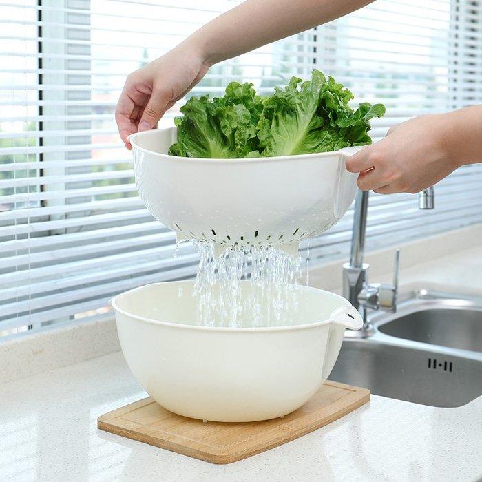 洗水果瀝水籃洗菜盆廚房家用塑料創意雙層水果盤糖果盤水果籃現代