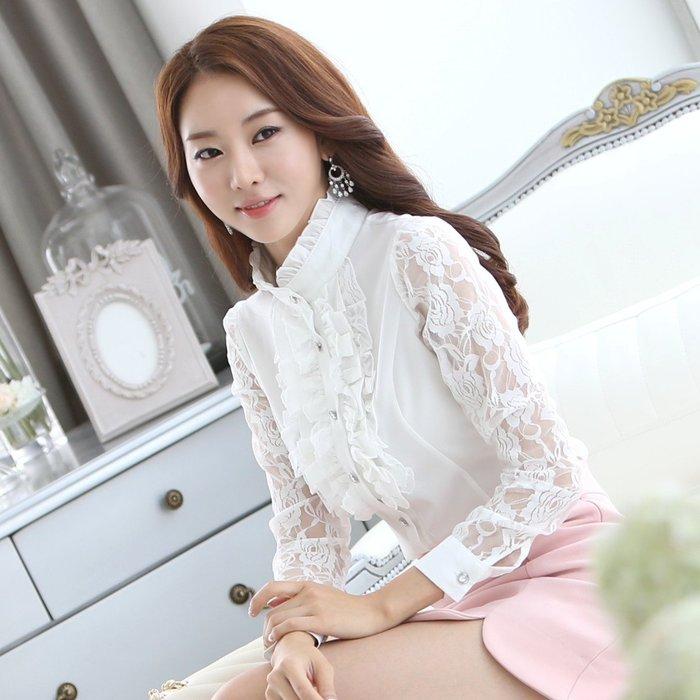 艾莉小舖~韓國春季 新款女裝 女式襯衫 長袖鏤空蕾絲雪紡衫 立領打底衫(161)