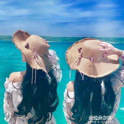 ZIHOPE 帽子女太陽帽日本出游沙灘防曬遮陽草帽海邊度假大檐防紫外線夏天ZI812