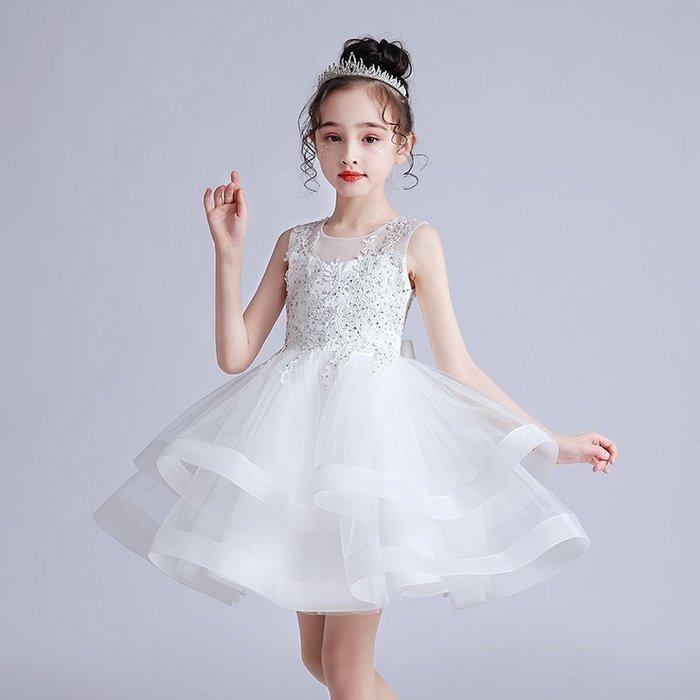 •*~ 辣媽咪衣飾小舖 ~*•❤童裝系列❤K980464韓版大童夏款甜美清新時尚蓬蓬蕾絲亮片可愛公主禮服公主洋裝