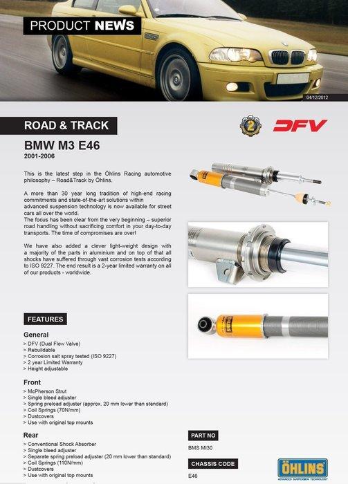 BMW 寶馬 3系列 E46 M3 2001-2006 專用 瑞典 Ohlins Road & Track 避震器