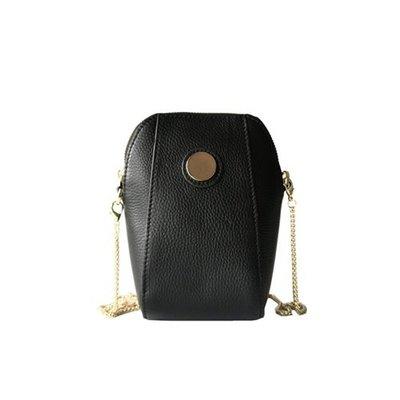 側背包 真皮 手機包-鍊條純色牛皮時尚女包包4色73yj29[獨家進口][米蘭精品]