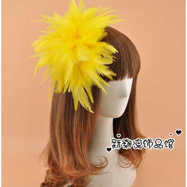 5Cgo【鴿樓】會員有優惠 36466067655 歐美誇張超大羽毛花朵頭飾髪飾髪夾髪卡胸花派對演出舞台飾品