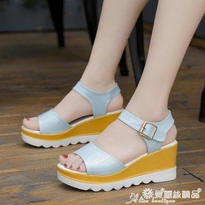 坡跟涼鞋 夏季新款高跟涼鞋女學生韓版粗...