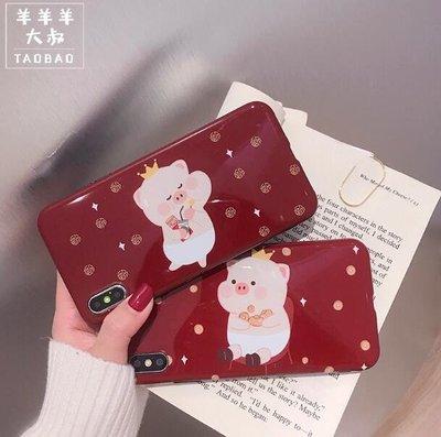 新年手機殼 手機套 可愛小豬iphonex手機殼i6s蘋果8plus/x/xs max矽膠女iphone7p/xr—莎芭