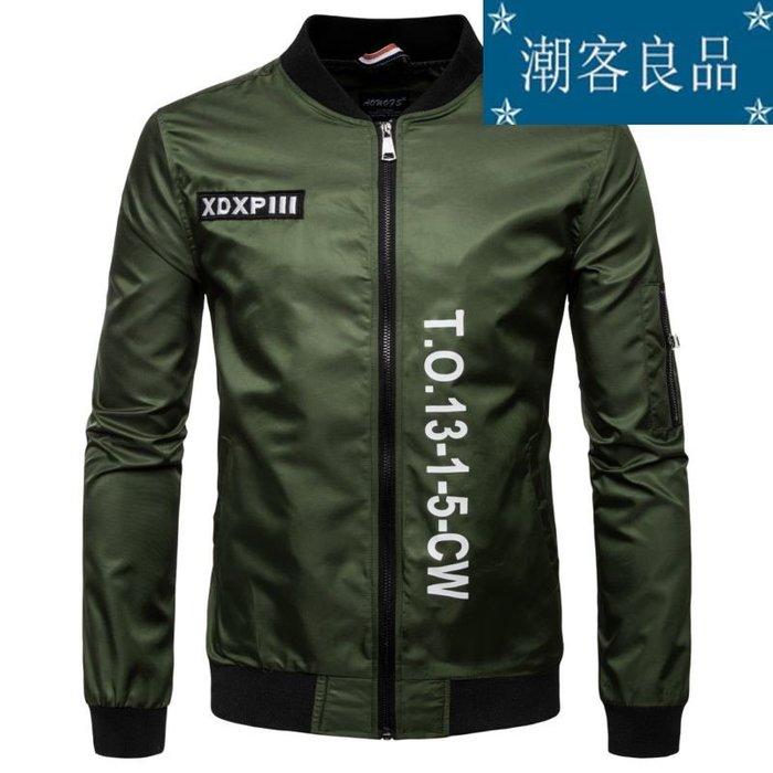 【潮客良品】~【歐碼】新款秋裝立領字母印花夾克 歐美男士飛行服夾克外套 熱賣cklp6510