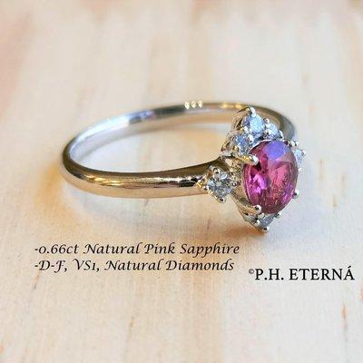 全新18K白金0.66卡粉紅色藍寶石配13份真鑽石戒指 | HK12號