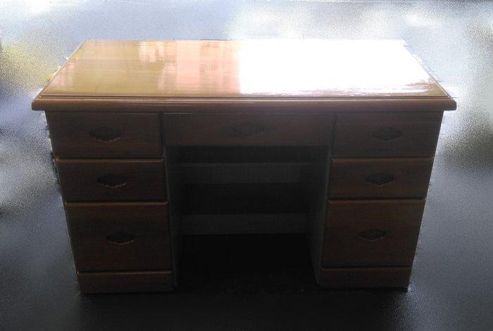 樂居二手家具 A0519BHJJ原木色七抽書桌 書桌 電腦桌 寫字桌 辦公桌 洽談桌 二手家具拍賣 全新中古傢具賣場