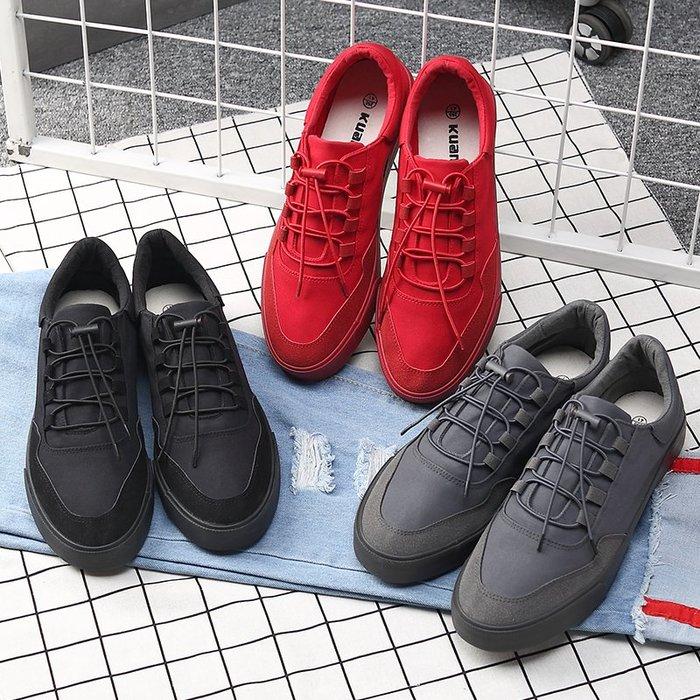 春季一腳蹬懶人鞋男韓版潮流紅色板鞋百搭休閒帆布鞋精神小伙鞋子