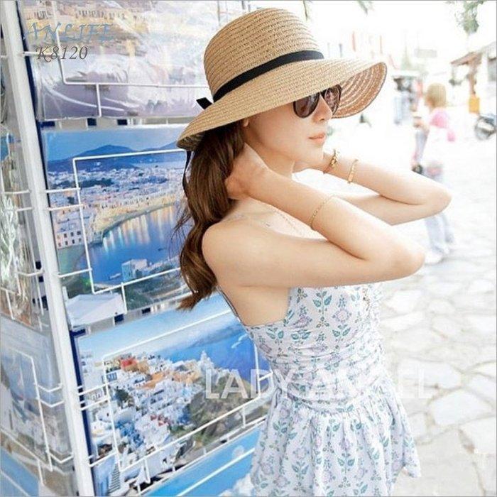 ANLIFE〉韓版夏天帽子女士 防曬遮陽帽帽子 草帽漁夫帽大沿帽 可折疊防曬 百搭出遊登山休閒帽子K8120