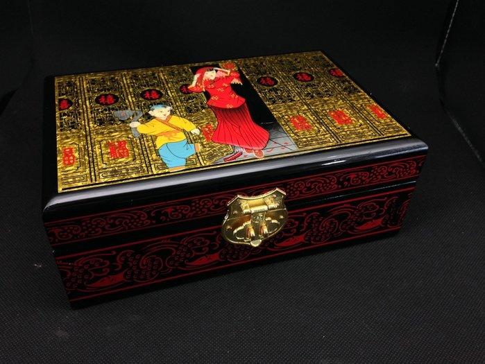 描金彩繪手工精製珠寶收藏收納箱