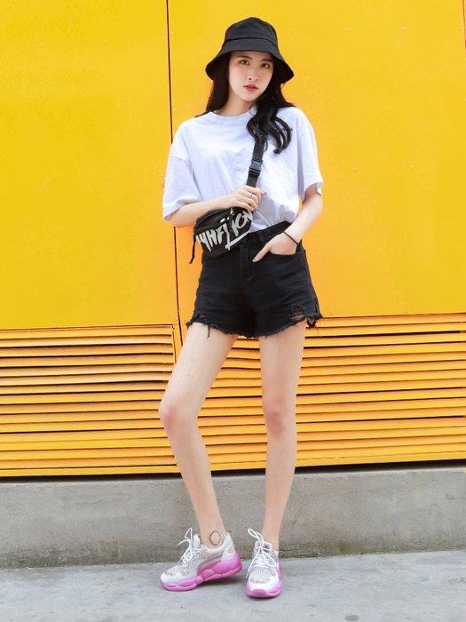 創意夏季女鞋老爹鞋女夏季透氣網紗新款鐳射鏤空亮片拼色百搭系帶運動涼鞋