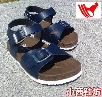【小茜鞋坊??Y拍館】Rooster 童款 粉色.藍色 舒適厚底質感皮革.金屬釦 平底涼鞋 休閒涼鞋 MIT製造
