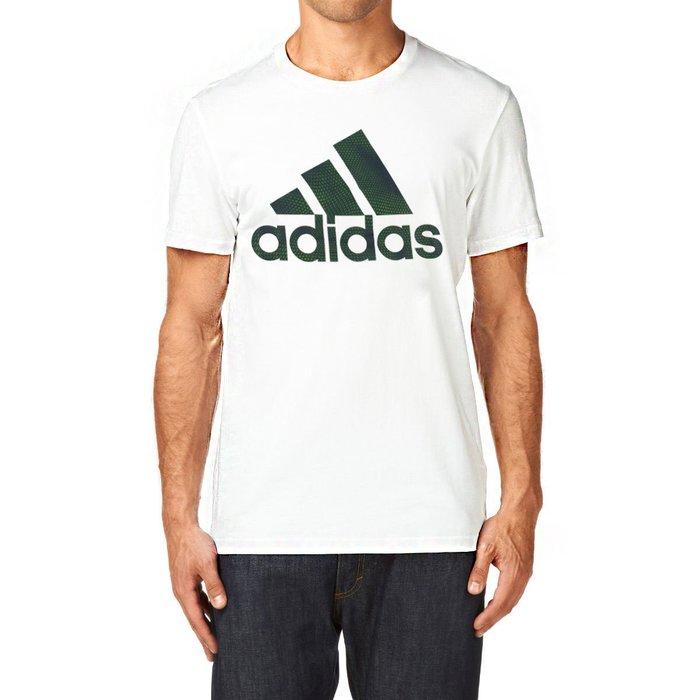 美國百分百【全新真品】Adidas 愛迪達 T恤 短袖 上衣 T-shirt 運動休閒 logo 白色 S號 G764