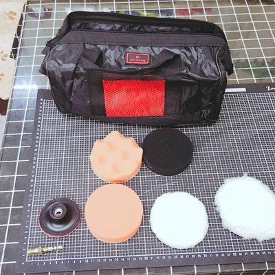 尚溢五金-含小手提工具袋-代號S5.8-8件打蠟組-3吋磨盤搭配 約4吋打蠟海綿毛輪-適用於電鑽-汽車與機車打蠟機車打蠟