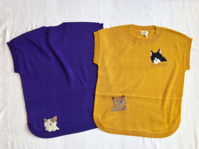 日本卡拉貓~貓咪混羊毛短袖針織上衣 外罩