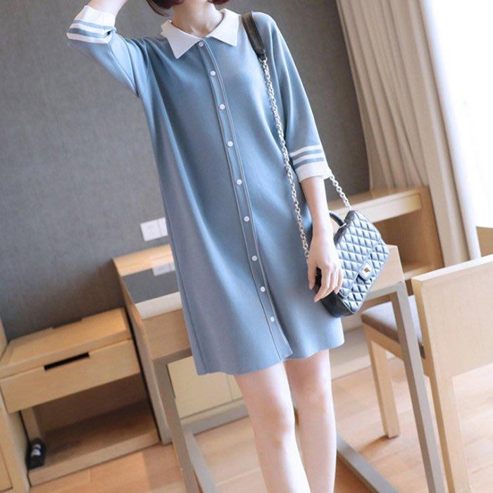 洋裝 (YD1011-2) 秋冬實拍純色寬鬆翻領針織連身裙 七分袖洋裝