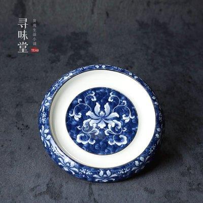 衣萊時尚-描金青花瓷壺承 高檔壺托壺座...