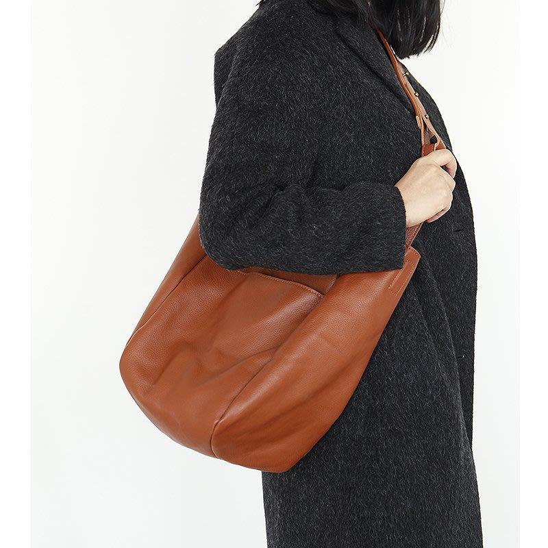 ~皮皮創~原創設計手作女包。真皮托特包大容量 頭層牛皮單肩手提包文藝簡約購物包 子母包 可分離 束口袋