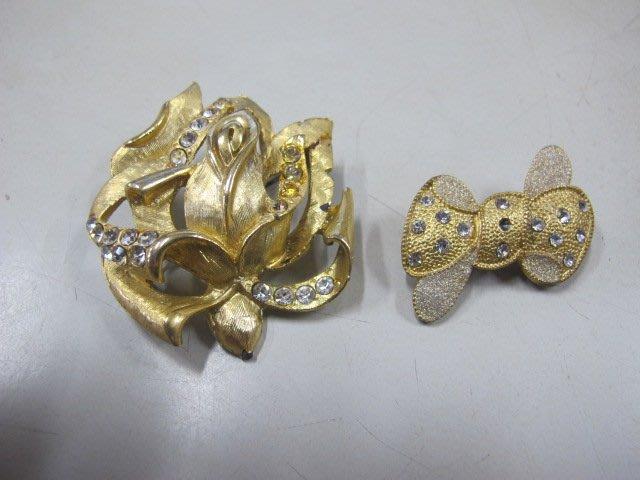 二手舖 NO.3212 銀K鑲鑽造型胸針 別針 首飾飾品