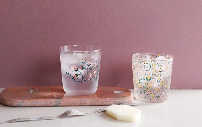繁花似錦玻璃水杯兩件套  玻璃杯  杯子  小花  粉紅色  透明玻璃杯  果汁杯  牛奶杯 對杯【小雜貨】