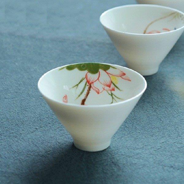 5Cgo【茗道】含稅會員有優惠 43633845467 手繪青花瓷泡茶茶杯品茗杯功夫茶具小茶碗茶盞普洱杯 斗笠杯 六個杯