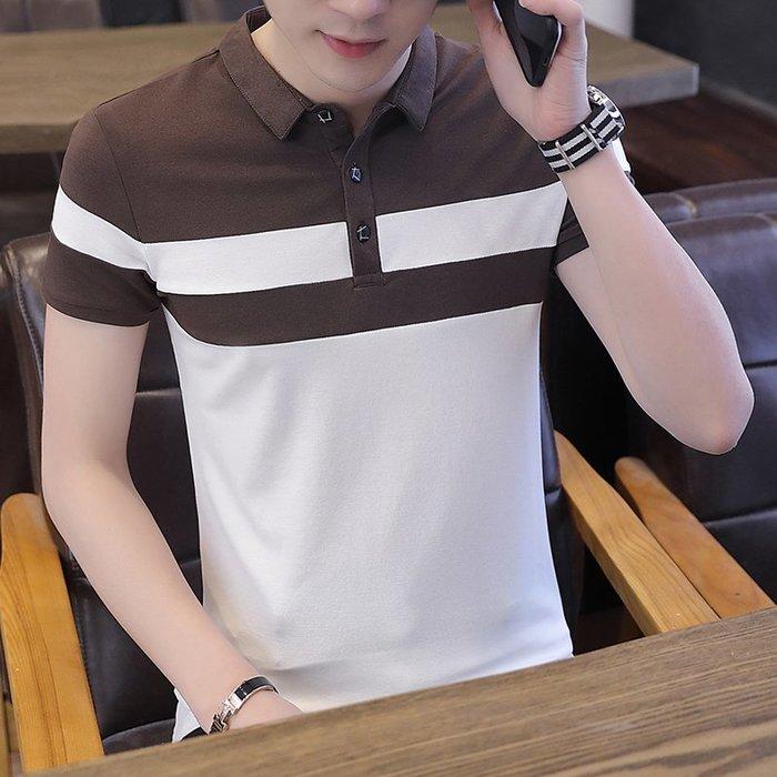 男士短袖t恤夏季韓版修身翻領POLO衫夏天有帶領半袖丅上衣服潮流 POLO衫 男士衣著 短袖 大尺碼 素面衫