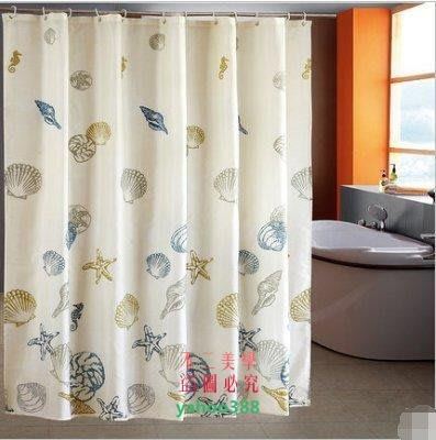 美學209浴簾 衛生間浴室浴簾 滌綸 加厚防水防黴 送挂鈎 藍色浴缸更衣簾❖89144