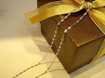 義大利585白K金項鍊~14K金鏈~可搭配各式鑽石 珍珠 玉 墬子 皆可--日字鍊子A0B36