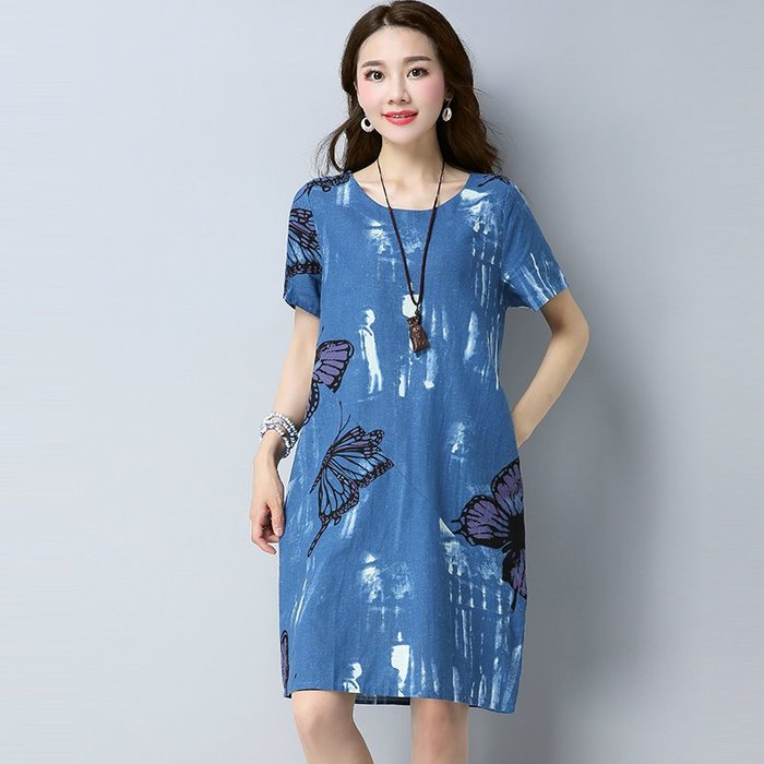 文藝 復古 棉麻連身裙 印花 甜美 實拍夏季棉麻大碼圓領花色口袋短袖連衣裙